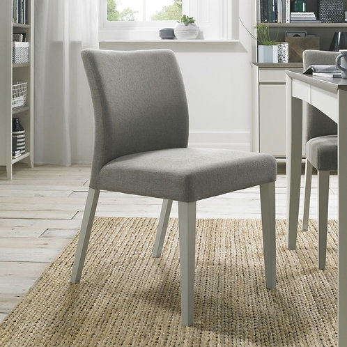 Bergen Soft Grey Low Back and Titanium Fabric Dining Chair (pair)