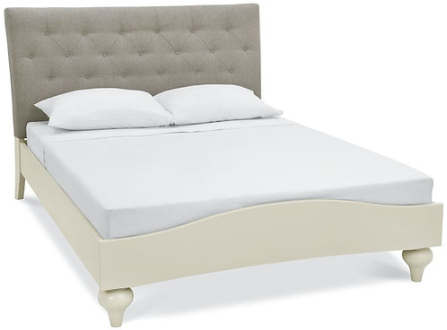 Montreux Pale Oak and Antique White Diamond Stitch Upholstered Bed