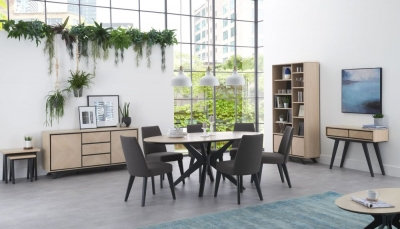 Brunel Chalk Oak and Gunmetal Oval 6 Seater Dining Table