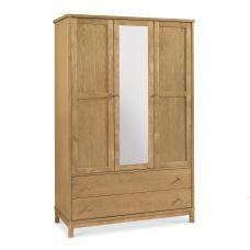 atlanta oak triple wardrobe with mirror