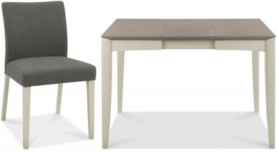 Bergen Grey Washed Oak and Soft Grey Extending Dining Set with Cold Steel Fabric