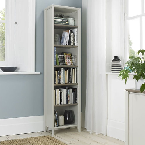 Bergen Grey Washed Oak and Soft Grey Narrow Bookcase