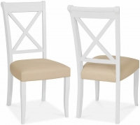 Hampstead Two Tone X Back Ivory Bonded Leather Dining Chair (Pair)