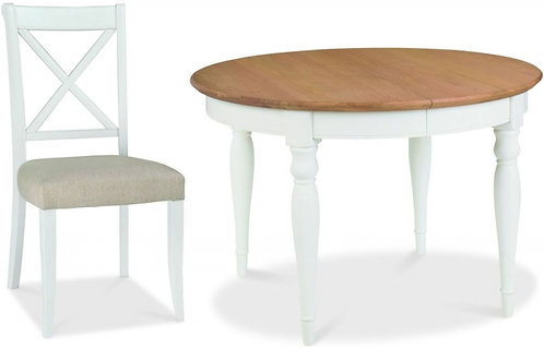 Hampstead 4-6 Two Tone Round Extending Dining Set with 4No X Back Chairs