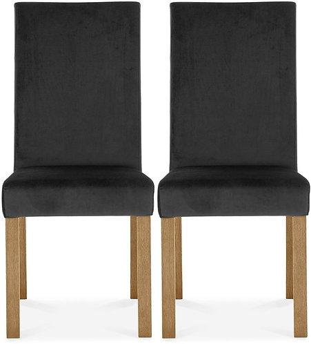 Parker Light Oak Square Back Chair (pair) - Gun Metal Velvet