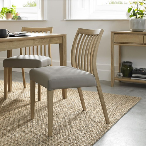 Bergen Oak Grey Bonded Leather Slat Back Dining Chair (Pair)