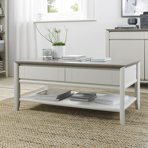 Bergen Grey Washed Oak and Soft Grey 2 Drawer Storage Coffee Table