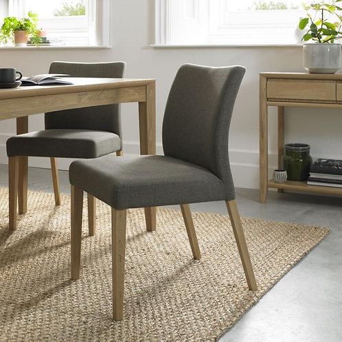 Bergen Oak Black Gold Fabric Dining Chair (Pair)