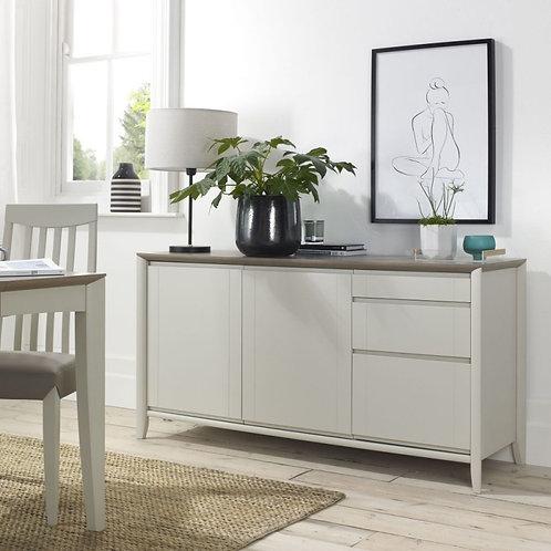 Bergen Grey Washed Oak and Soft Grey 2 Door 3 Drawer Wide Sideboard