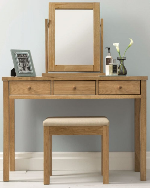 atlanta oak dr essing table set with mirror and stool