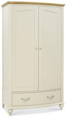 Montreux Pale Oak and Antique White 2 Door Double Wardrobe