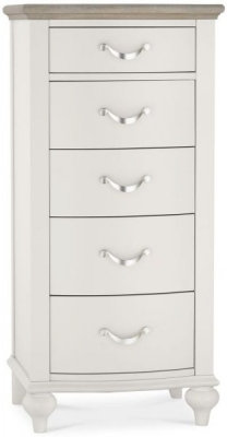 Montreux Grey Washed Oak and Soft Grey 5 Drawer Tall Chest