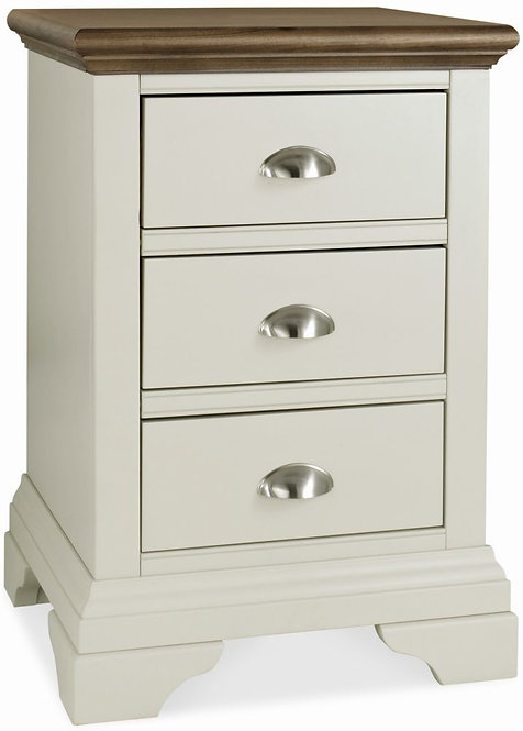 Hampstead Soft Grey and Walnut 3 Drawer Bedside Cabinet