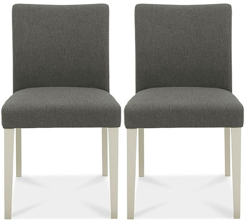 Zennor Soft Grey and Cold Steel Fabric Dining Chair (pair)