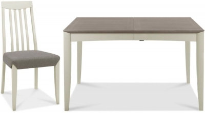 Bergen Grey Washed Oak and Soft Grey Extending Dining Set with B