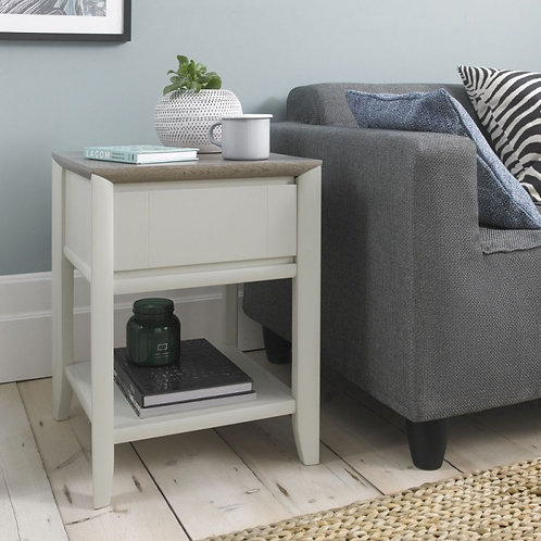 Bergen Grey Washed Oak and Soft Grey 1 Drawer Lamp Table