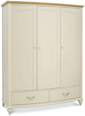 Montreux Pale Oak and Antique White 3 Door Triple Wardrobe