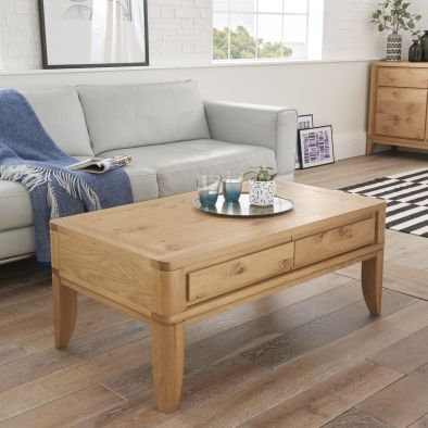 High Park Oak Coffee Table with Drawers