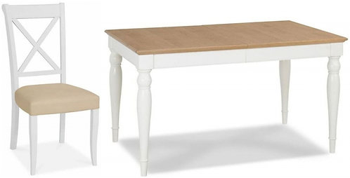 Hampstead 4-6 Two Tone Rectangular Extending Dining Set with X Back