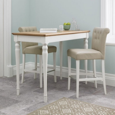 Hampstead Two Tone Bar Table with Ivory Bonded Leather Upholstered stools