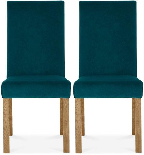 Parker Light Oak Square Back Chair (pair) - Sea Green Velvet Fabric