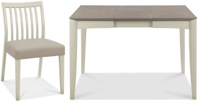 Bergen Grey Washed Oak and Soft Grey Extending Dining Set with G