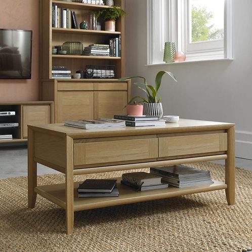 Bergen Oak 2 Drawer Storage Coffee Table
