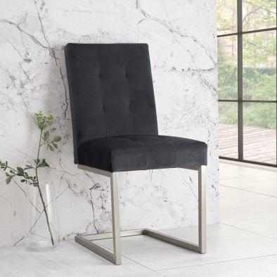 Tivoli Upholstered Cantilever Chair (pair) - Gun Metal Velvet