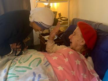 The nuns visit us