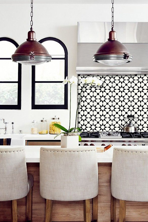 Agadir Vinyl Tile Stickers Pack In Black   Kitchen Tile Decals   Floor  Stickers