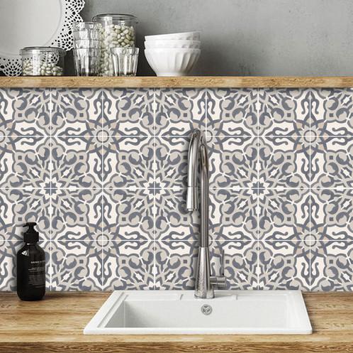 Stickers carrelage cuisine, Vinyle carreaux de ciment sol Parioli ...