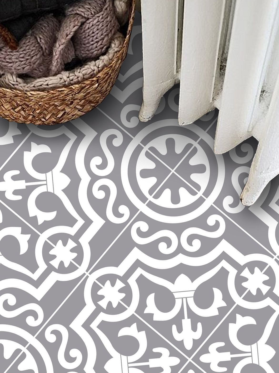 Quadrostyle lys vinyl tile stickers pack in grey kitchen tile inspired by floor tiles from provence the south of italy these easy to use tile stickers can brighten up your dailygadgetfo Image collections