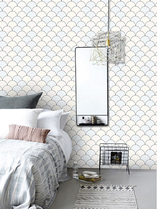 Removable Wallpaper Tiles tile decals | quadrostyle | koi scallop removable wallpaper pastille