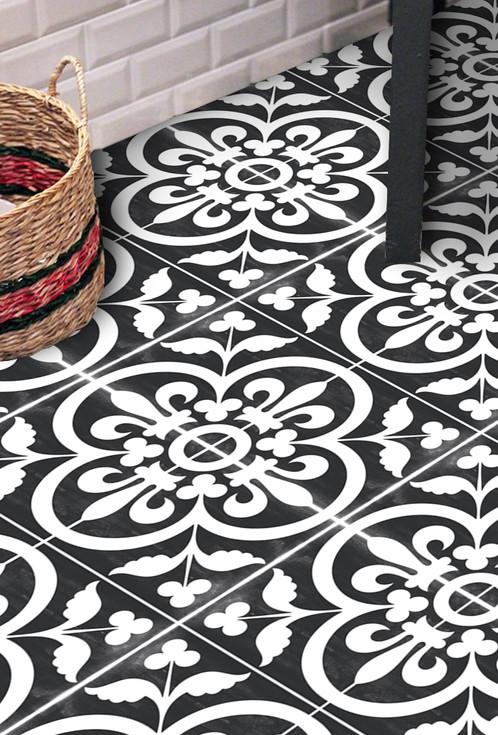 Vinyl Floor Tile Sticker - Corona Black