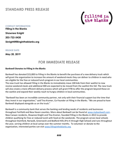 Bankwell Press Release