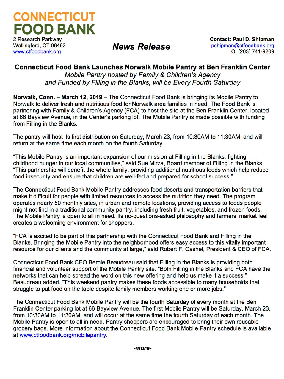 Connecticut Food Bank and Filling in the