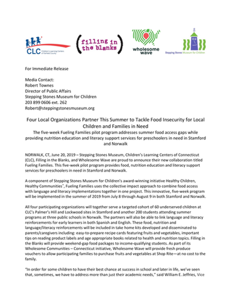 Fueling Families Press Release