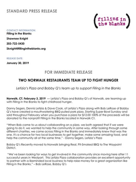 BBQ Pizza Press Release