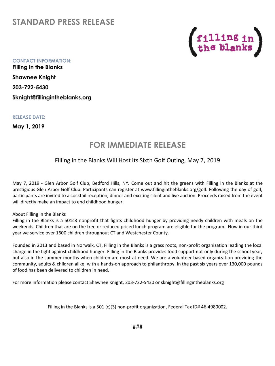 Golf Outing Release 2019