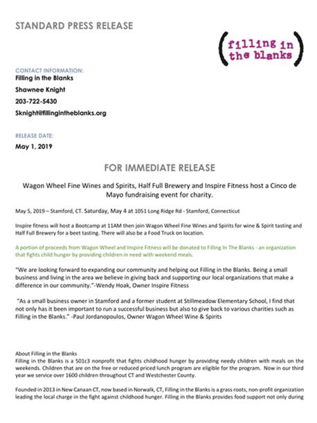 Cinco De Mayo Press Release