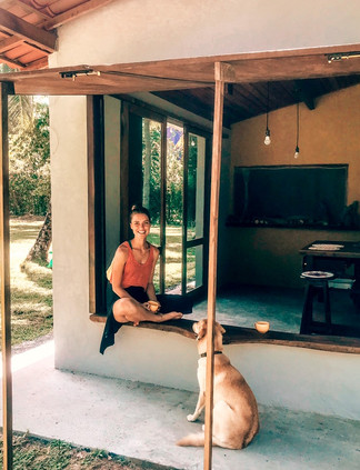 Katja relaxes with Puma in the shadows