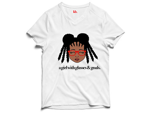 Youth Girl With Glasses & Goals Tee