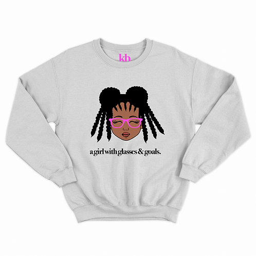 Breast Cancer PINK Girls w/Glasses &Goals Sweatshirt