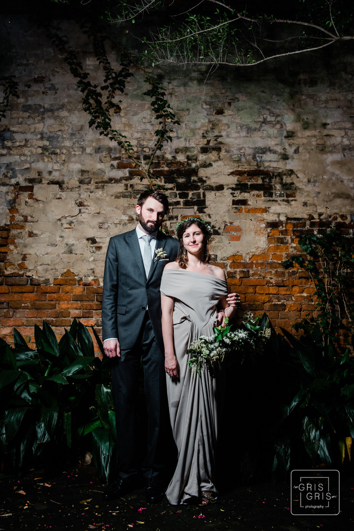 Bride and Groom Portrait at the new orleans pharmacy museum