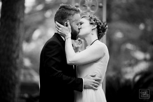 black and white image of first kiss