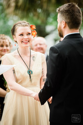 bride looks at her soon to be husband and smiles