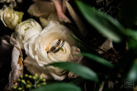 rings placed on flowers