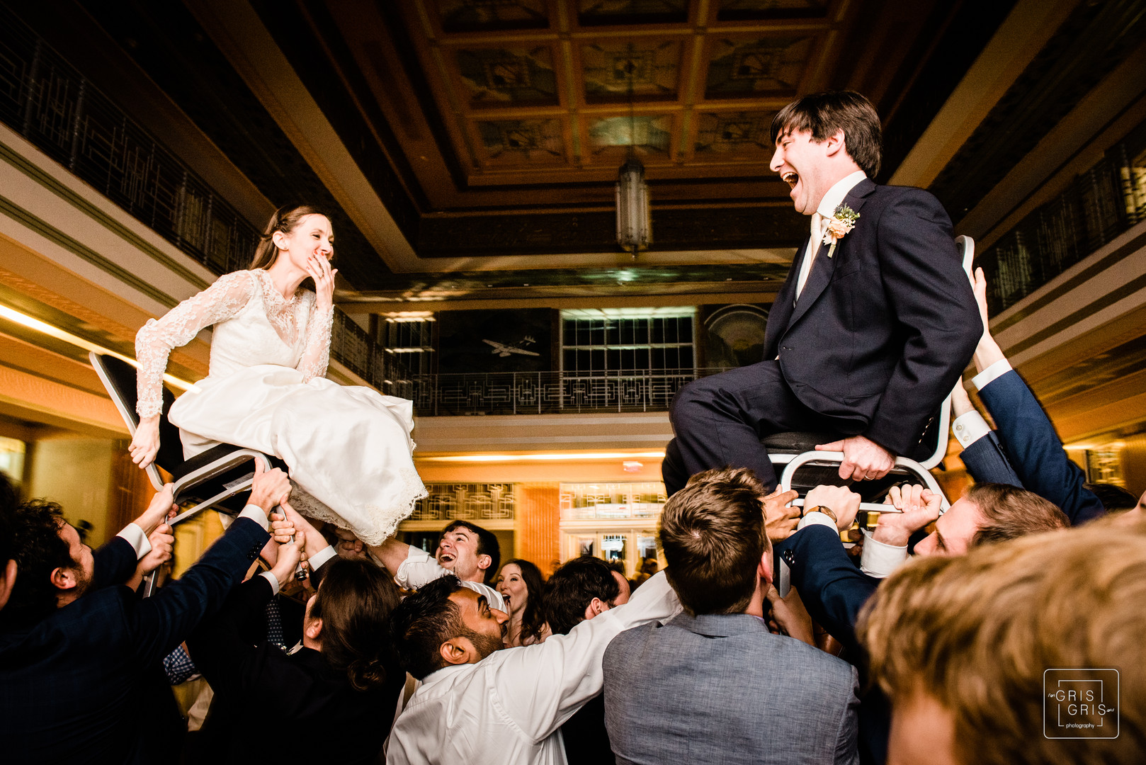 Bride and groom hora dance durring their reception at the lakefront airport