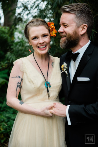 formal portrait of bride and groom