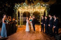 night time wedding ceremony using off camera flash at the benachi house